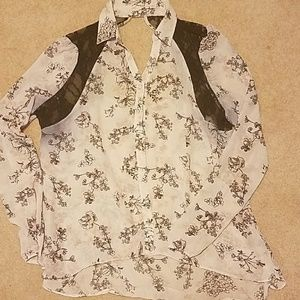 Tops - Pale pink, black lace sheer blouse.  Large
